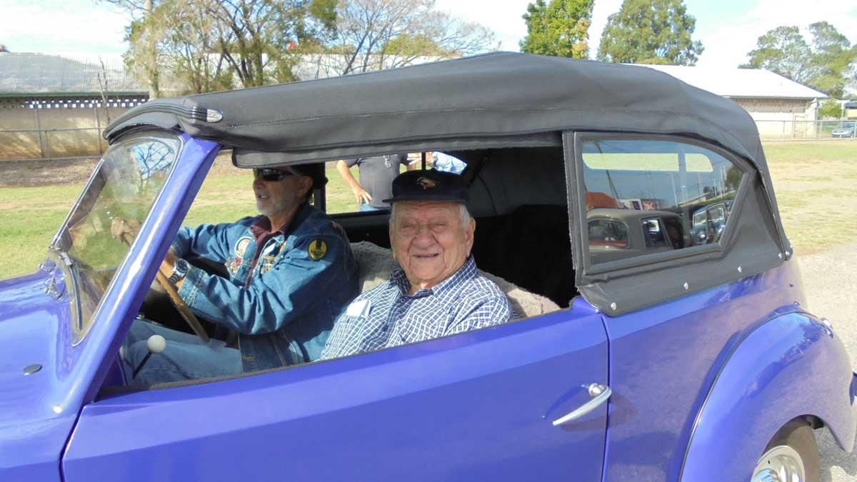 Here is Warren with James Whyte in his restored car at AOA Ipswich in 2017
