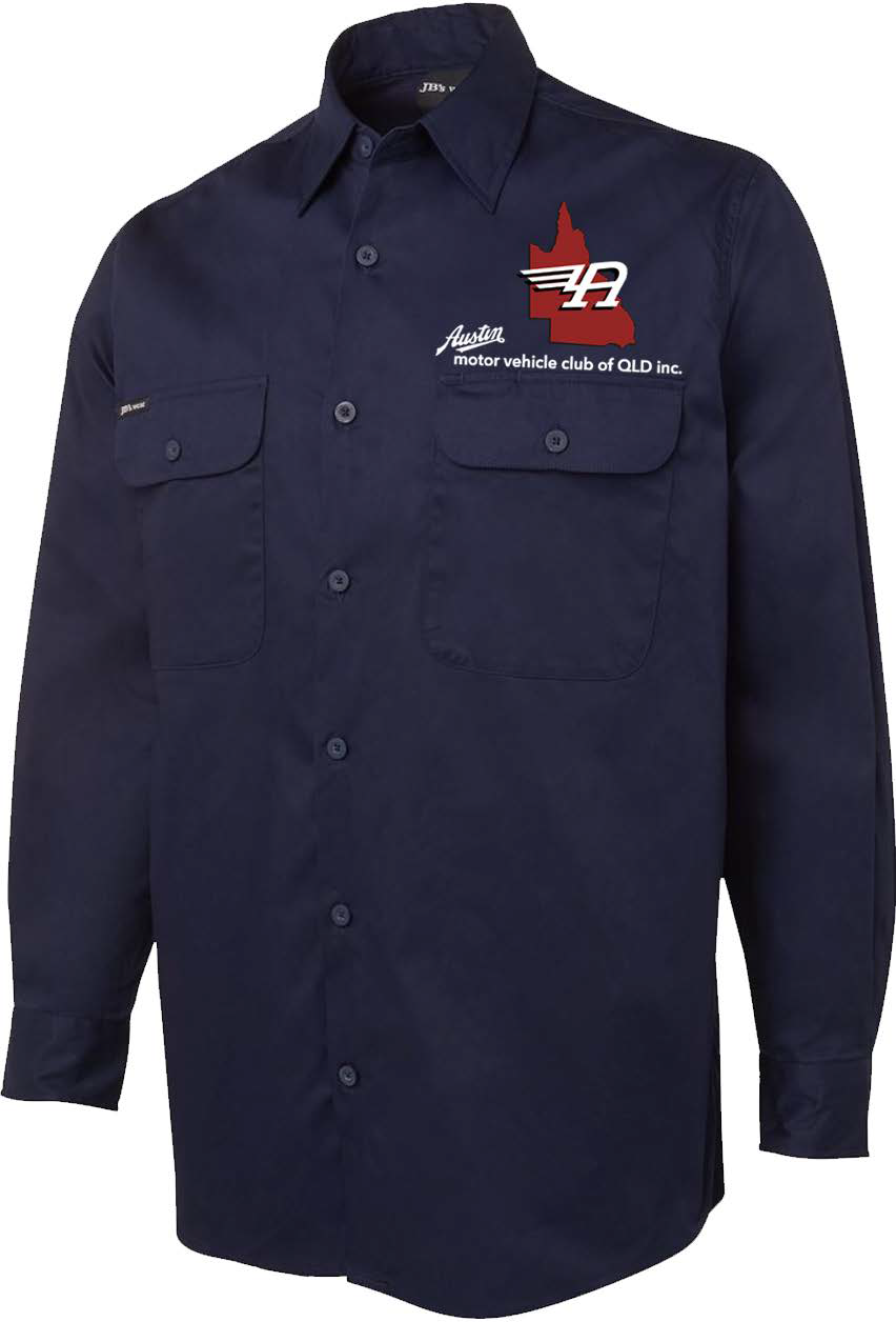 Navy Long Sleve Light Drill Club Shirt $45 Sizes S M L XL 2XL