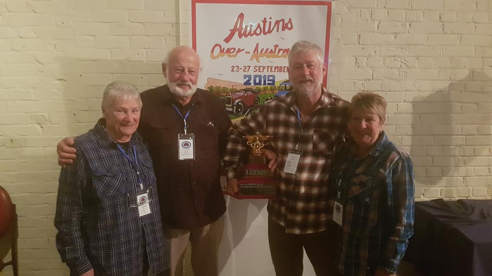 Steve, Jen, Bob and Andree Hayes with the Best Austin at AOA 2019 trophy