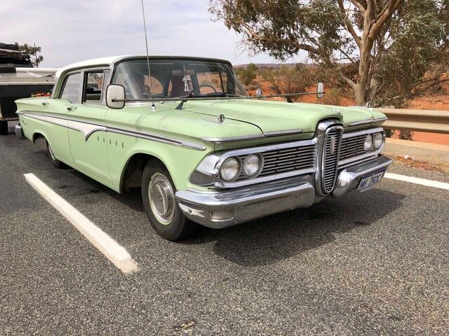 This 1959 Edsel was on its way back to WA and we caught up with him at roadworks just out of Wilcannia.