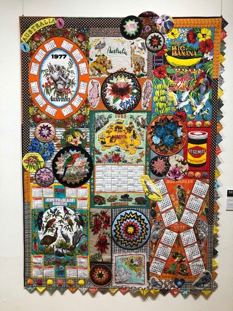 Here's an idea as to what to do with your old Aussie tea towels; make them in to a wall hanging, exhibit it, win 2nd prize and price it at $2500………. Seen in one of the Broken Hill art galleries.
