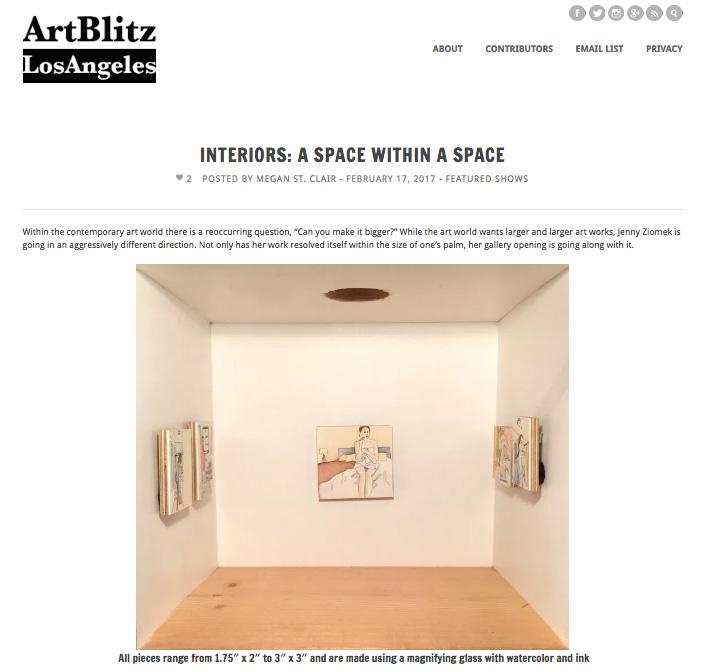 Writeup of show  Interiors  in  Art Blitz LA     http://artblitzla.com/interiors-a-space-within-a-space/