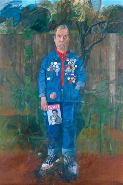 Peter Blake, Self-Portrait with Badges, 1961, oil on board,