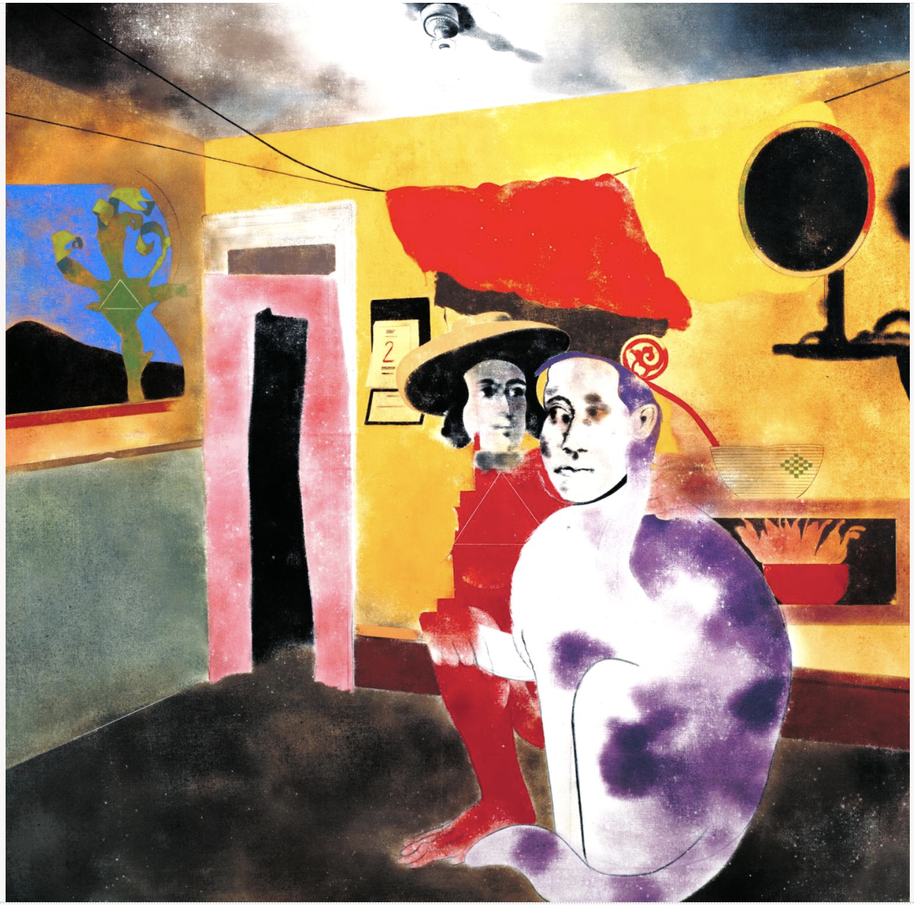 R.B. Kitaj, The Man of the Woods and the Cat of the Mountains, 1973, oil on canvas, 152cm x 152cm.