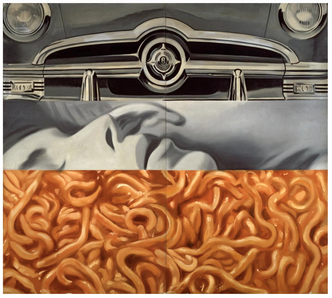 James Rosenquist, I Love You with My Ford,1961. Oil on canvas, 210.2 x 237.5 cm.