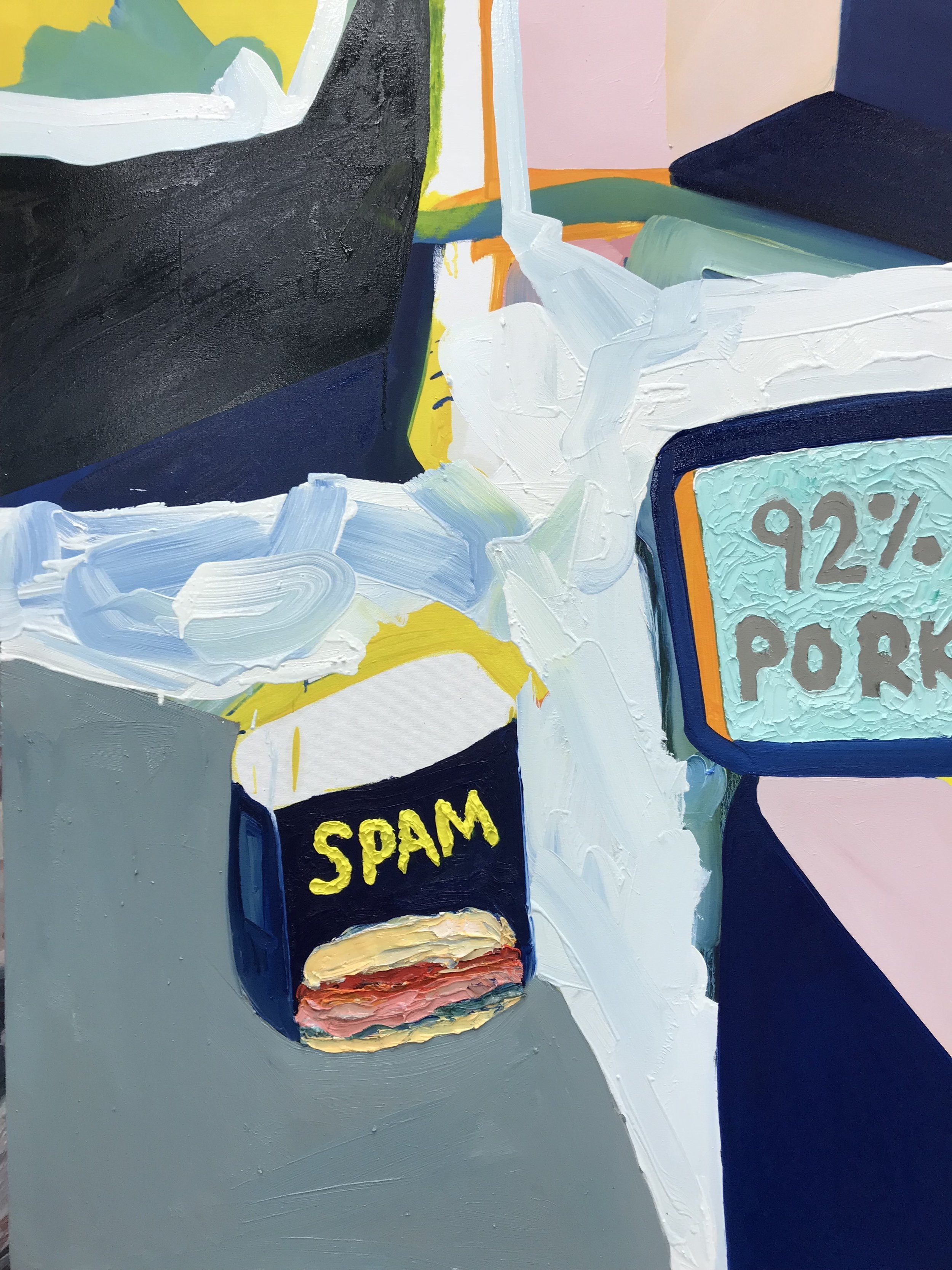The spam can painting appears to be nearly done. I will put this aside for now and work on the other painting