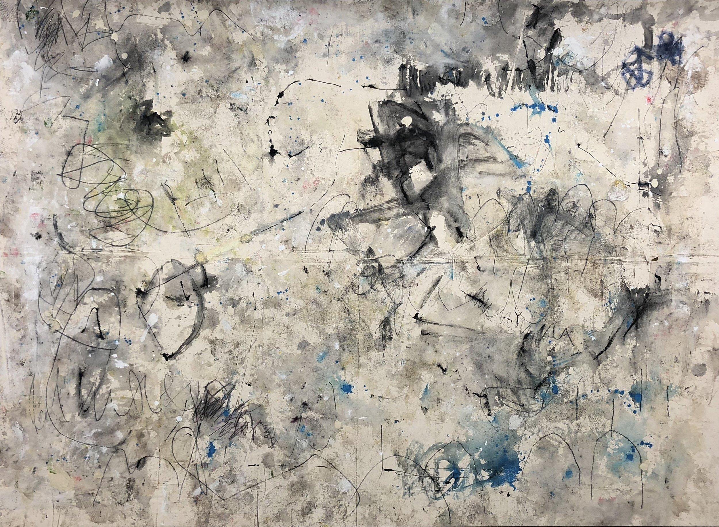 Kimberly Rowe, Origin, 2018,Charcoal, acrylic, sand, gel medium, ink on canvas,235 (H) x 322cm (W)