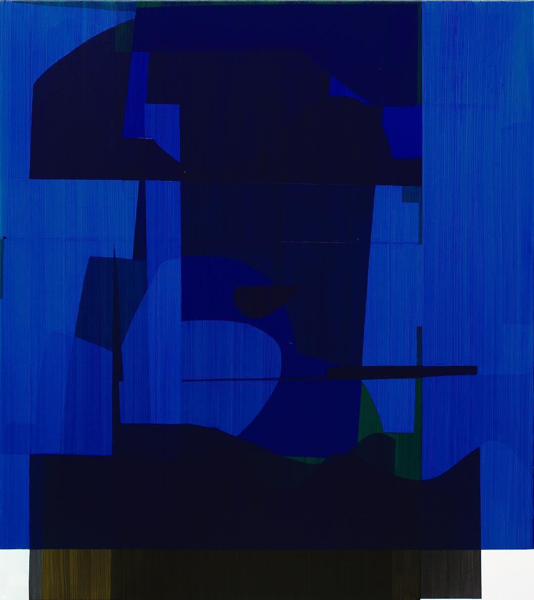 Simon Degroot,Overlay Blue, 2018,oil on canvas, 138 x 123cm.