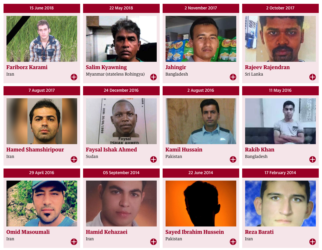 The 12 men who have died in Australian off shore detention centres