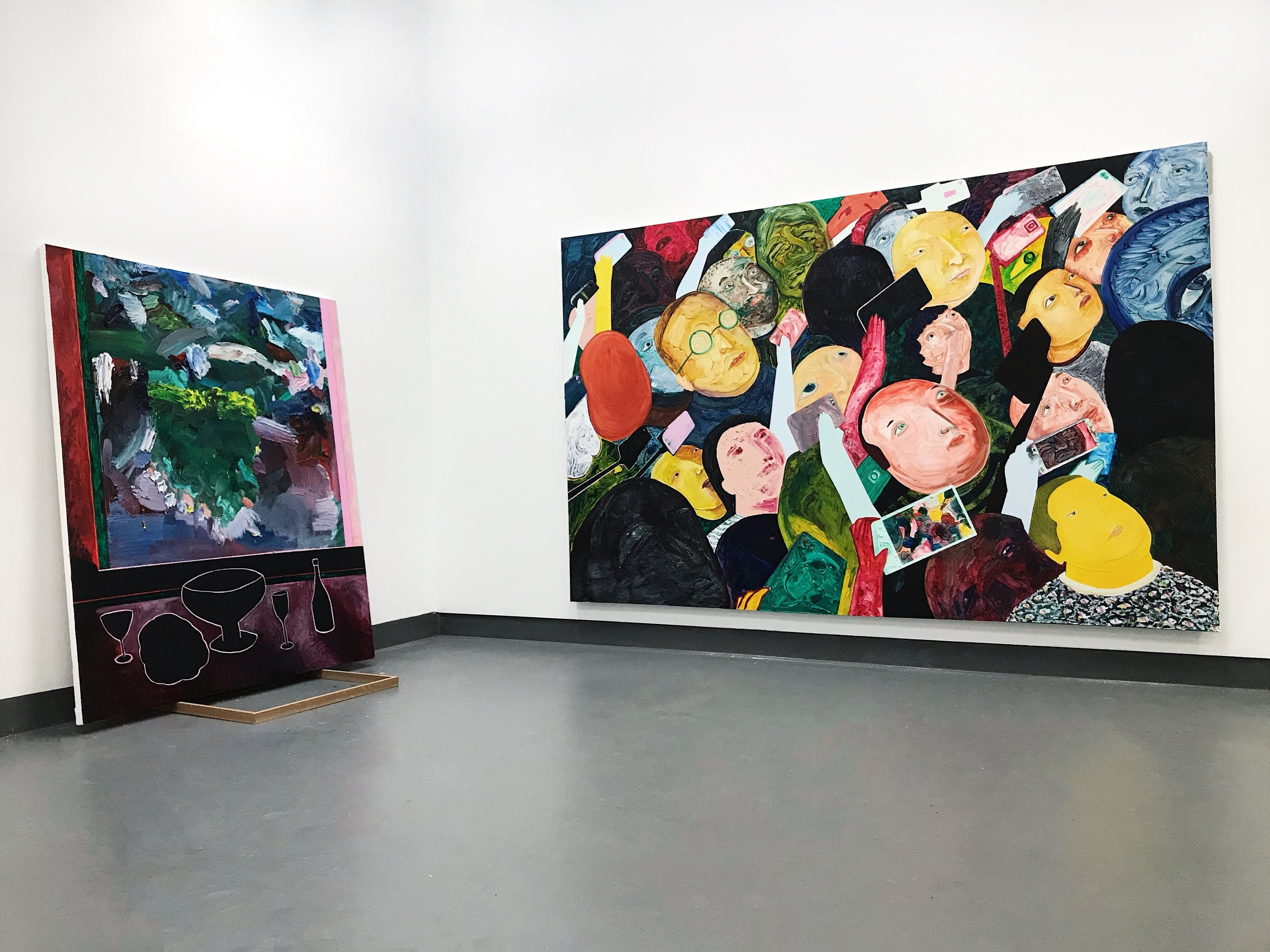 Left:  Still life and vineyard at Gladysdale , 2019, oil on polycotton, 190x160cm  Right:  Ssshhh no photo, no talking , 2019, oil on polycotton, 203x314cm