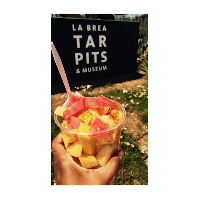 This is my Los Angeles ☀️ #Delicious fresh fruit with chilli, salt, and lime and a little stroll around the La Brea Tar Pits #californialove