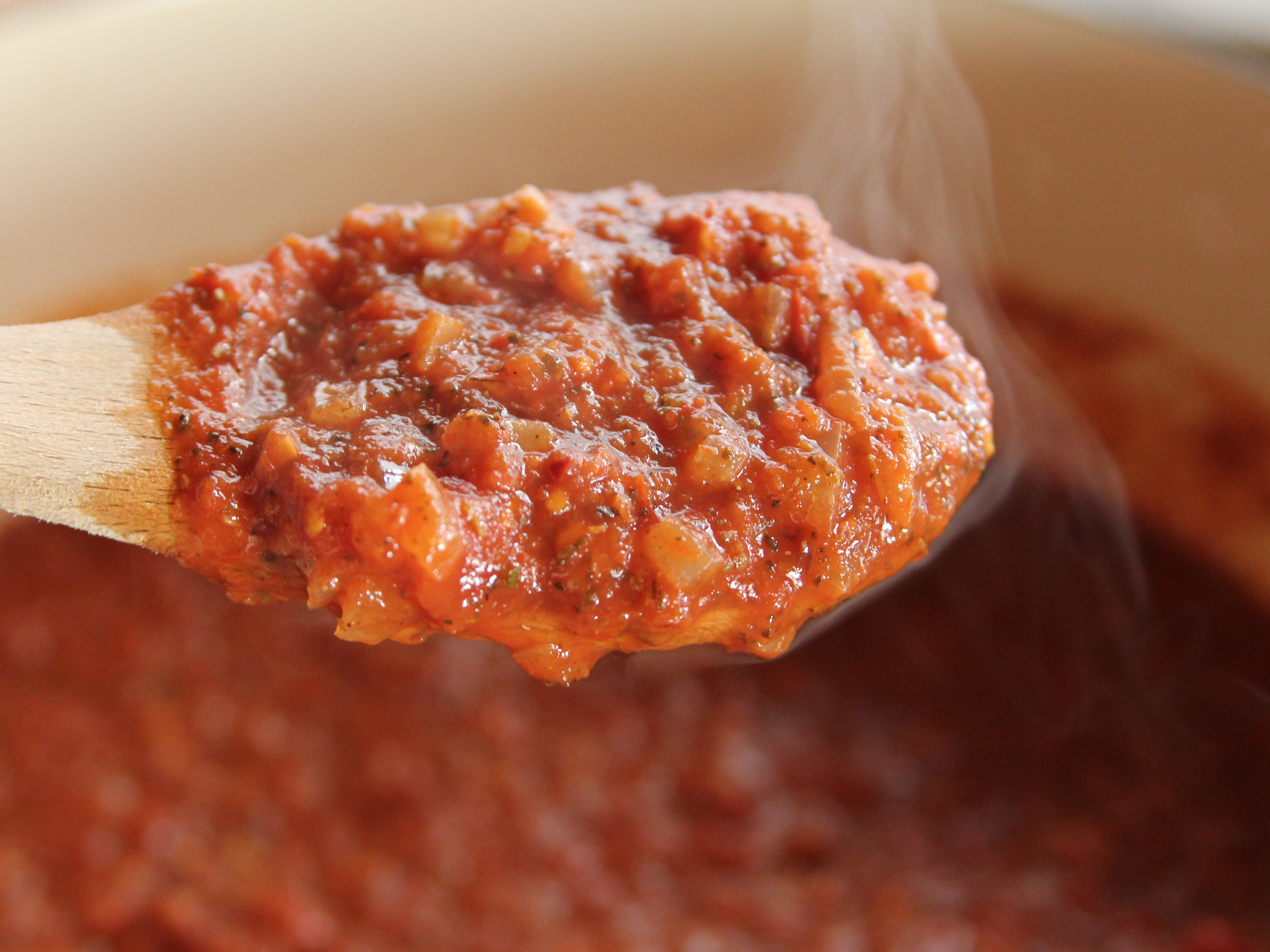 ARRABIATTA: A spicy red sauce made with  spicy Calabrian chili peppers, r  oasted garlic and EVOO.