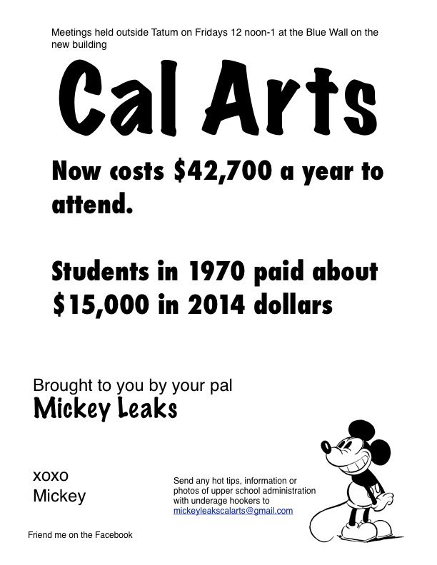 Mickeyleaks Flier CalArts Tution, Strike Student Debt