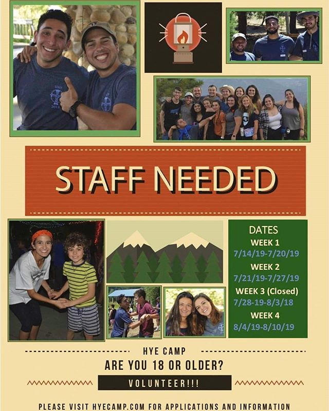 The Pasadena Staff Training Session is just 2 WEEKS AWAY! Don't miss out on what is sure to be another great year of Hye Camp! Apply for staff at www.hyecamp.com/staff-application today!