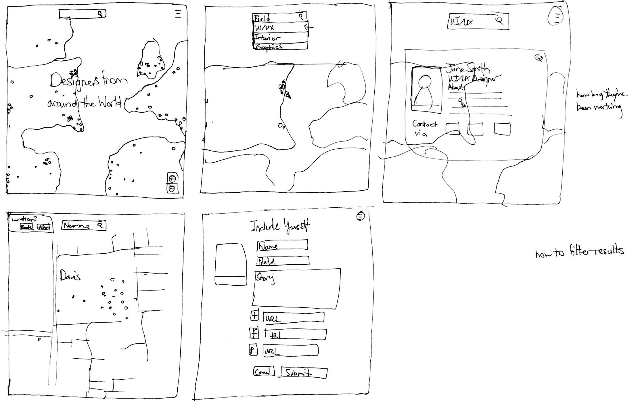 Storyboarding - After getting a better idea of what type of platform I wanted to create, I needed to refine my idea. At first I wanted to involve designers from around the world, but with the limited data I could source, I kept within the U.S. region.