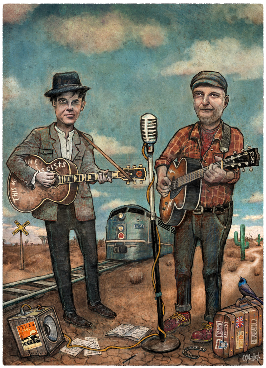"A previous cover I produced for Rhythms Magazine - ""Billy Bragg and Joe Henry"""