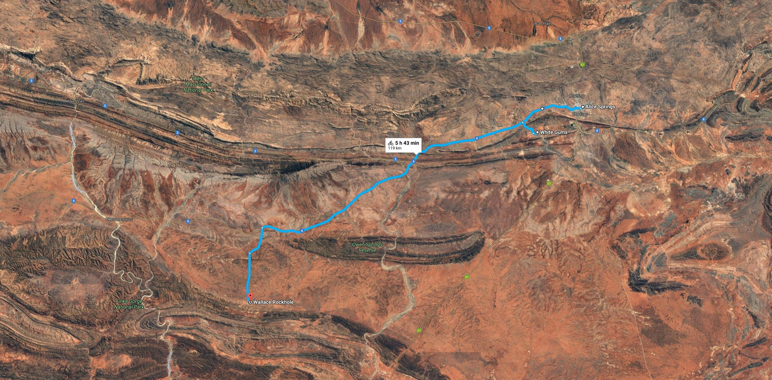 The 120km or so easy trek from Alice to WRH. Check out that bloody geology from the sky....! The range at the top of the image is the MacDonell and at WRH red marker is upon the base of the James Range.
