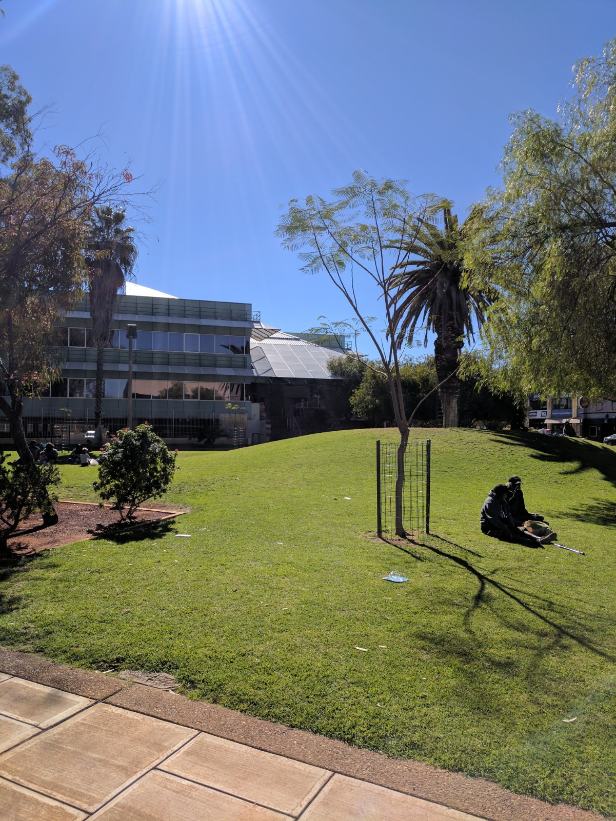 The lawn across from the Old Law Courts, a waiting room