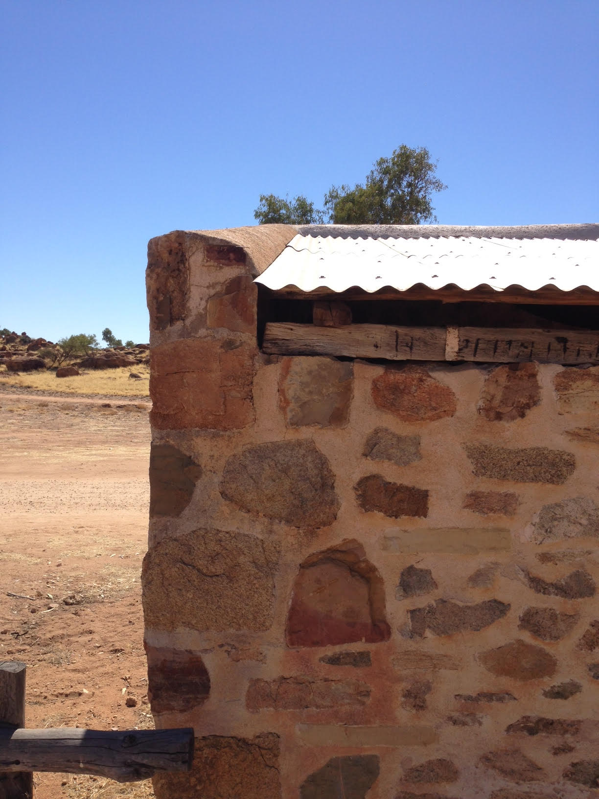 The Telegraph Station, Stone Parapet & Roof sheeting junction