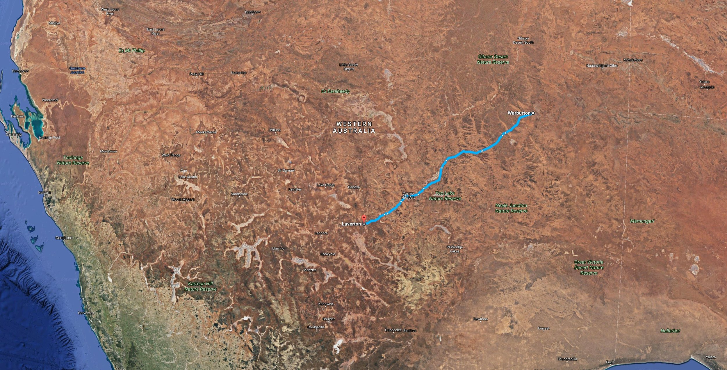 Click on image of route between Warburton & Laverton to check out the map