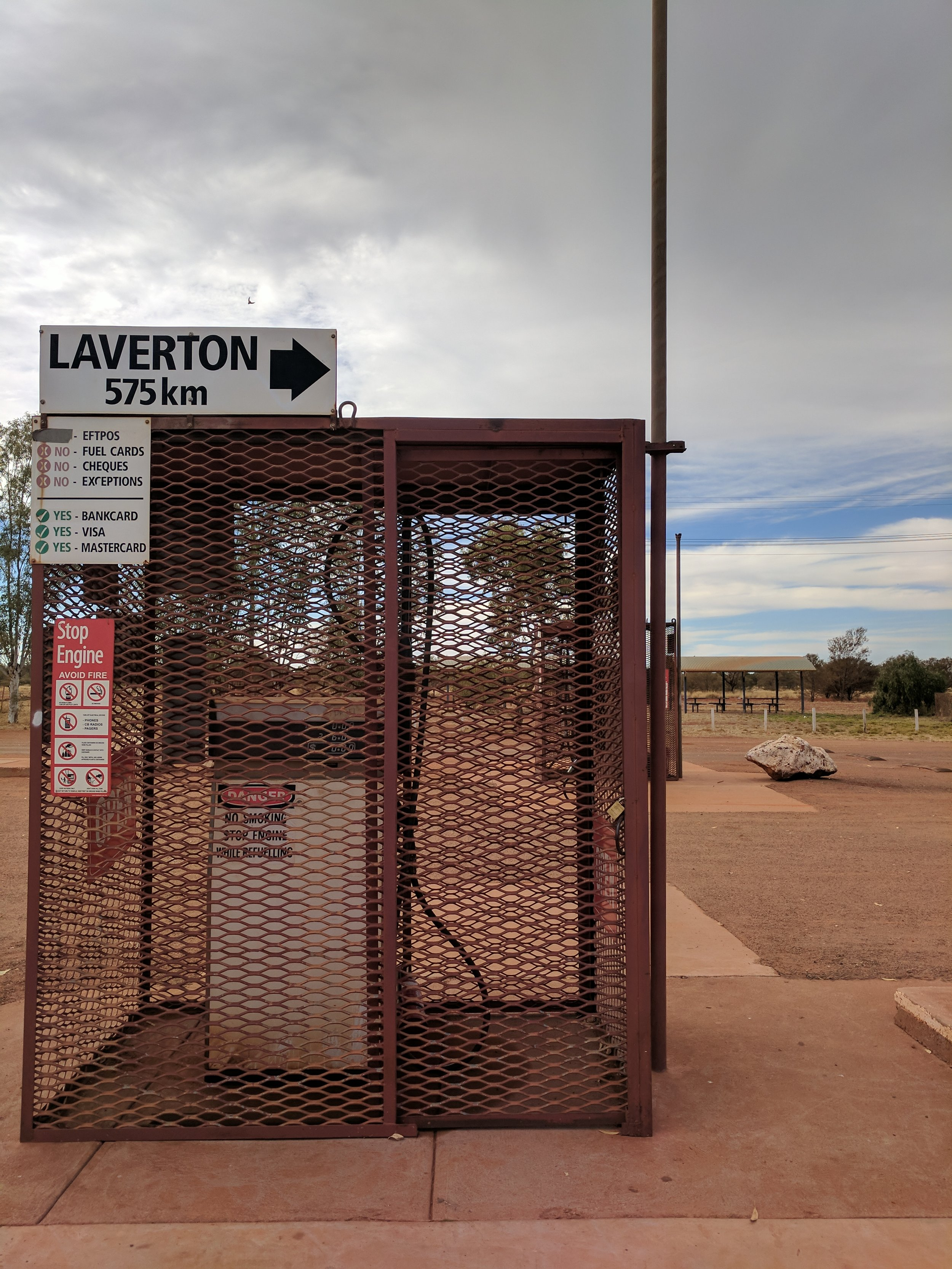 'Warburton Cage style' transcends to petrol pumps too. Unlocked, administered and always attended by a roadhouse worker