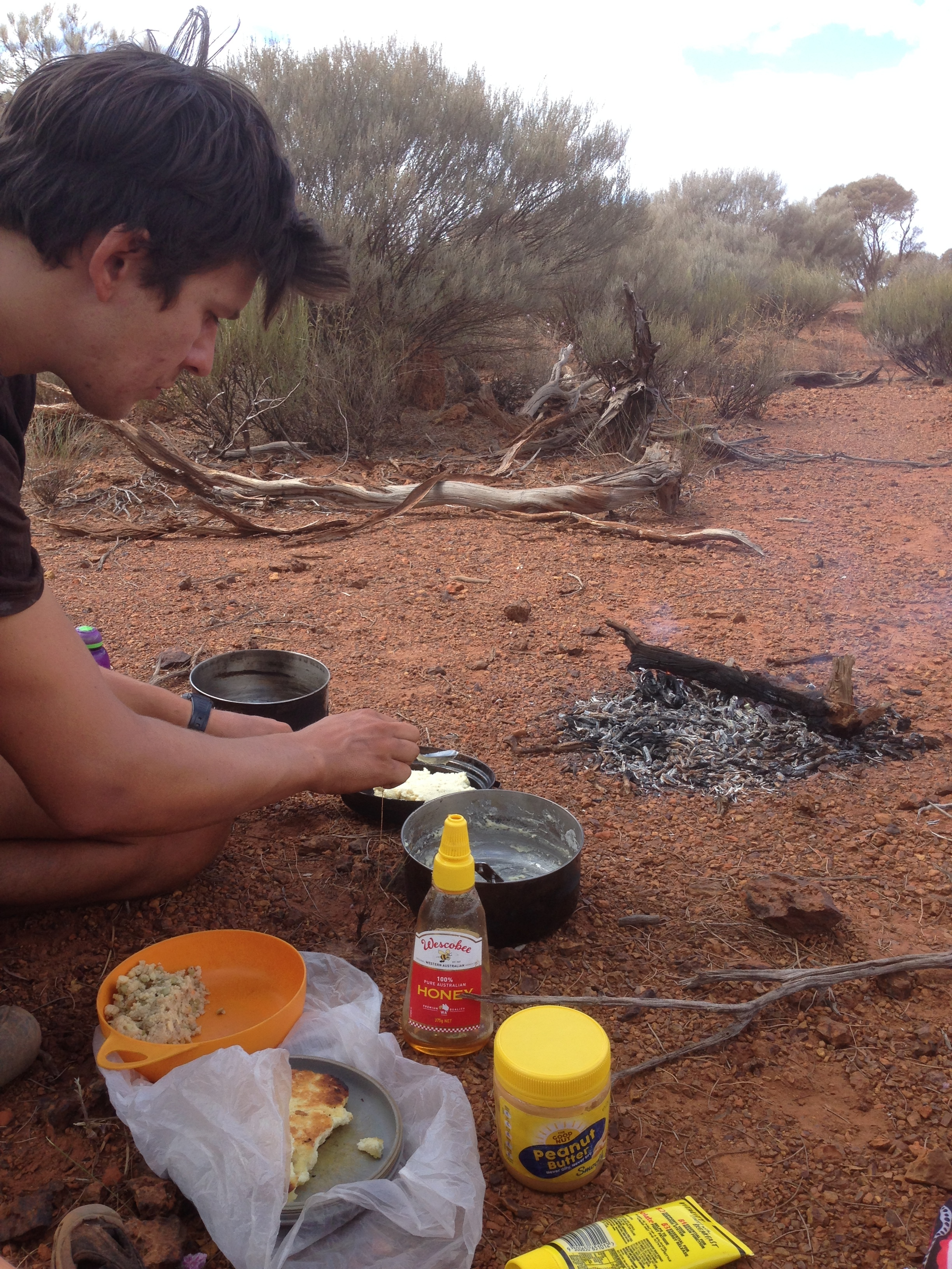 Out of food = make fire, damper lunch