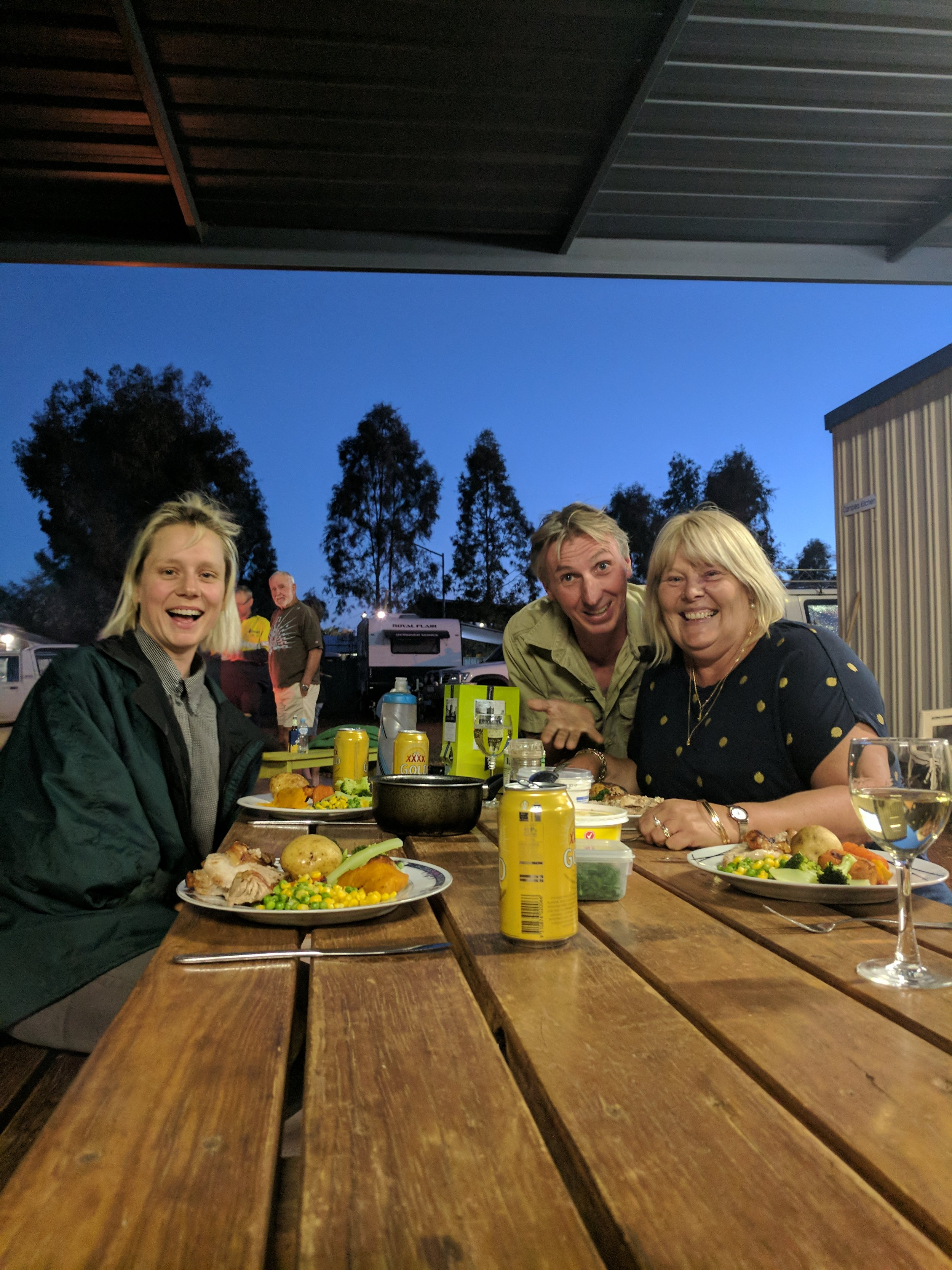 Dinner with the Managers, Carol and Mal, the best roast we have had in about 7 months!