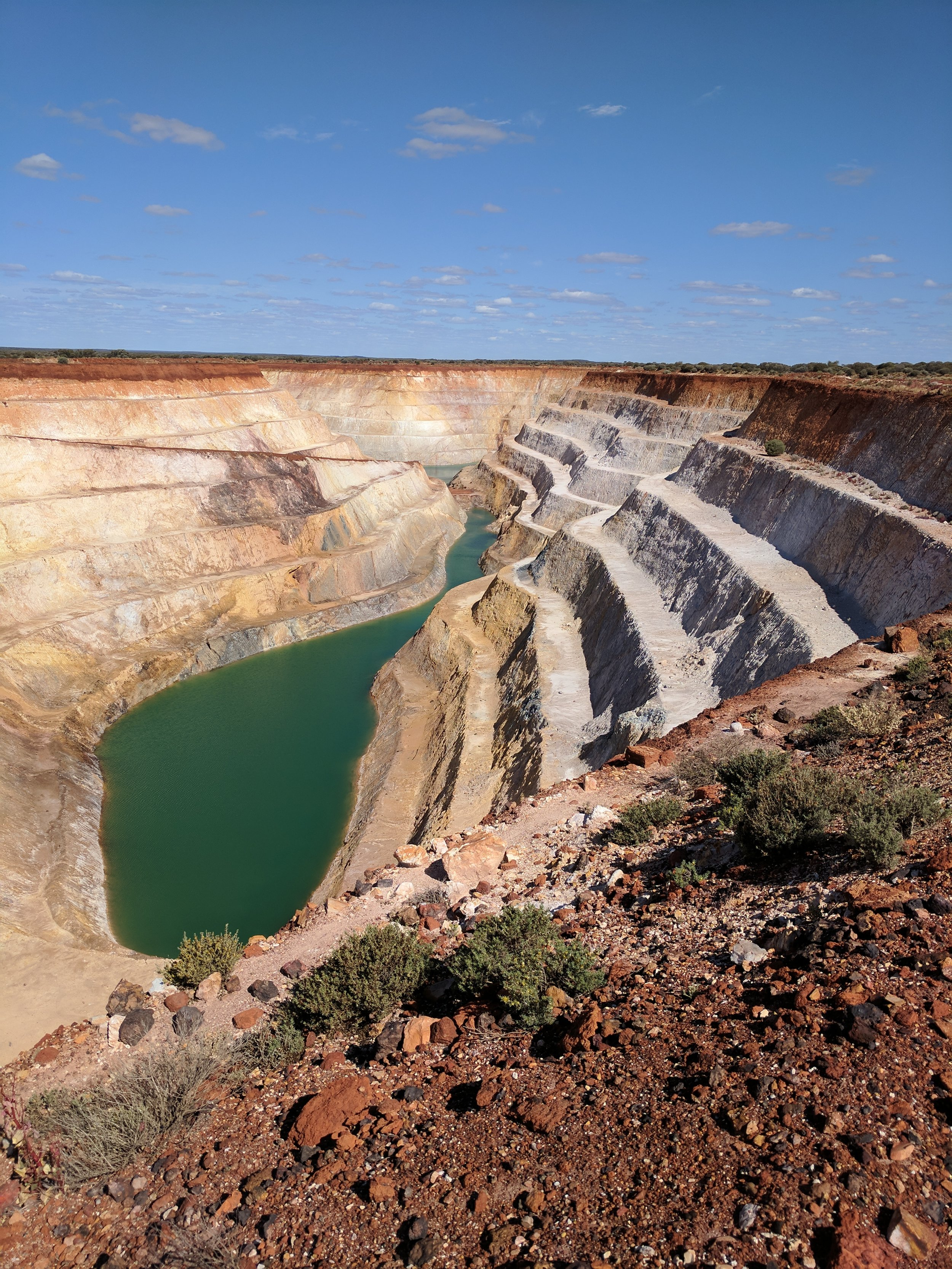 One of many abandoned open cut mine sites that litter the Laverton area