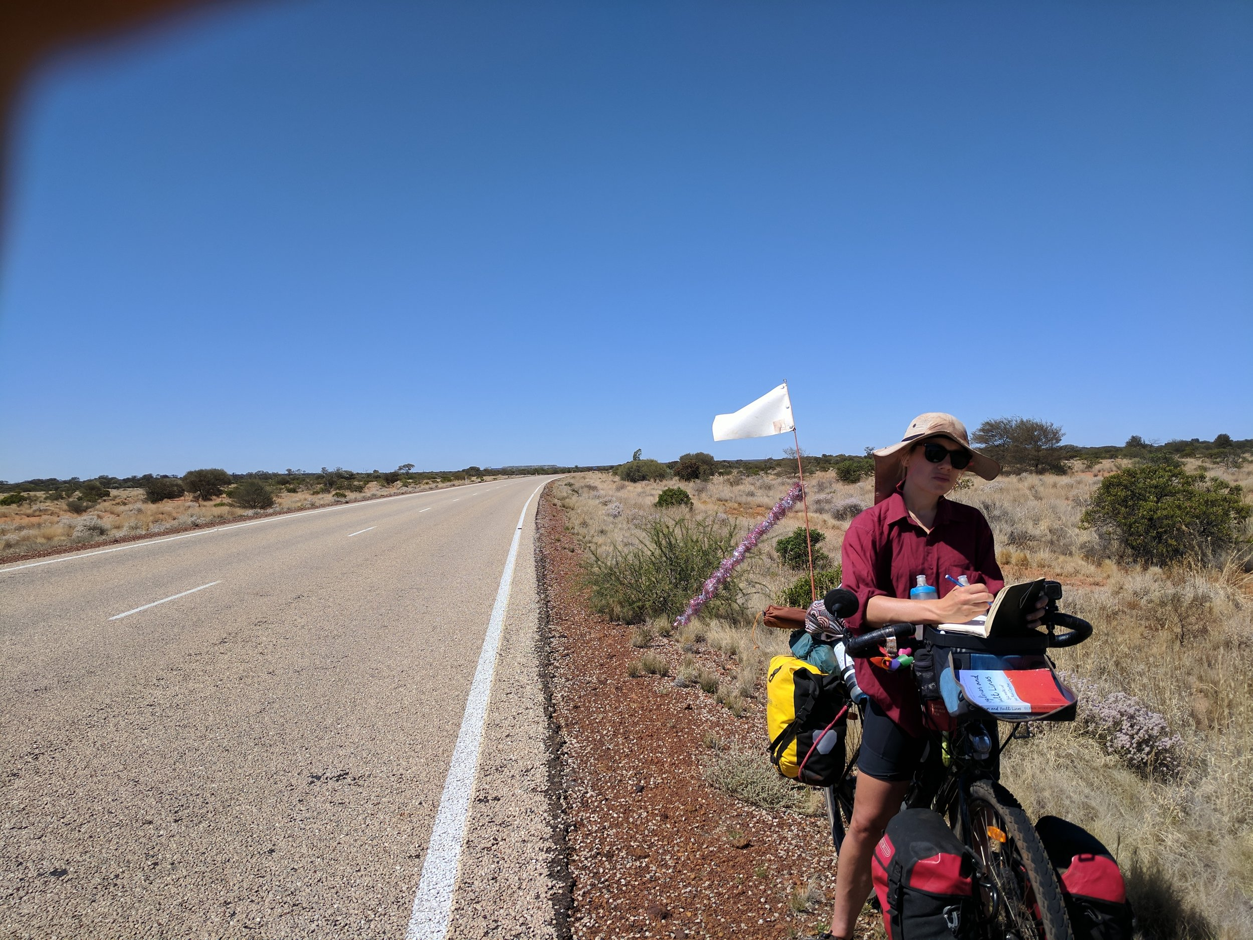 The usual, stopping road side & drawing. The unusual, man made mesas rise