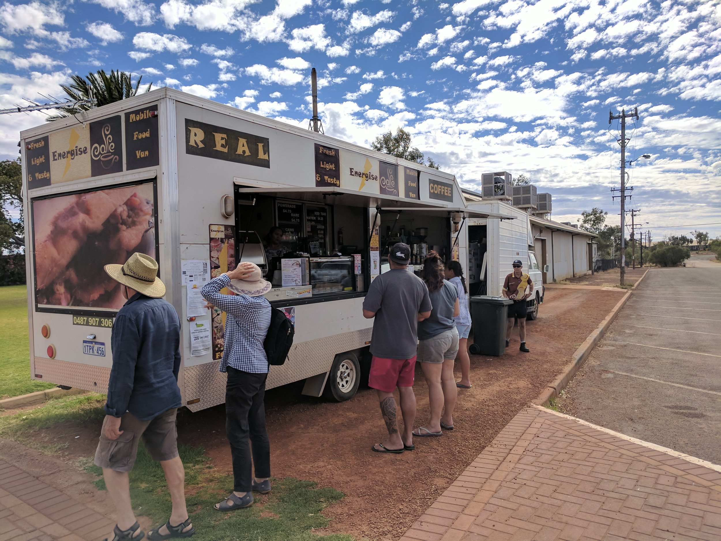 The Lunch rush at the Meekatharra radical food van!