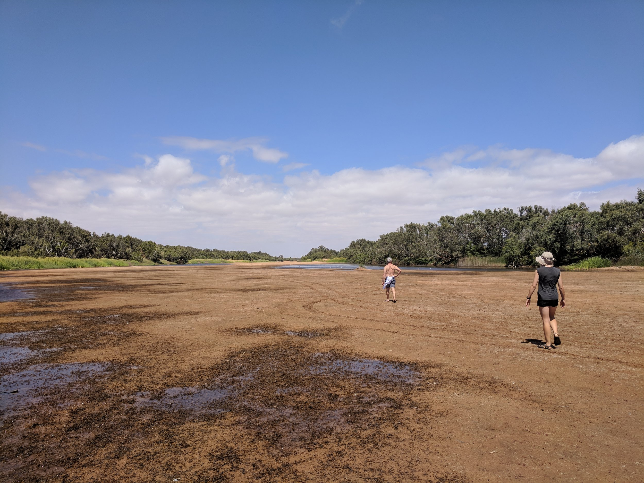 Chinamans Pool, an arm of the Gascoyne River which supplied the town with water and a swimming hole over the years. Father and daughter modelling team strut their stuff.