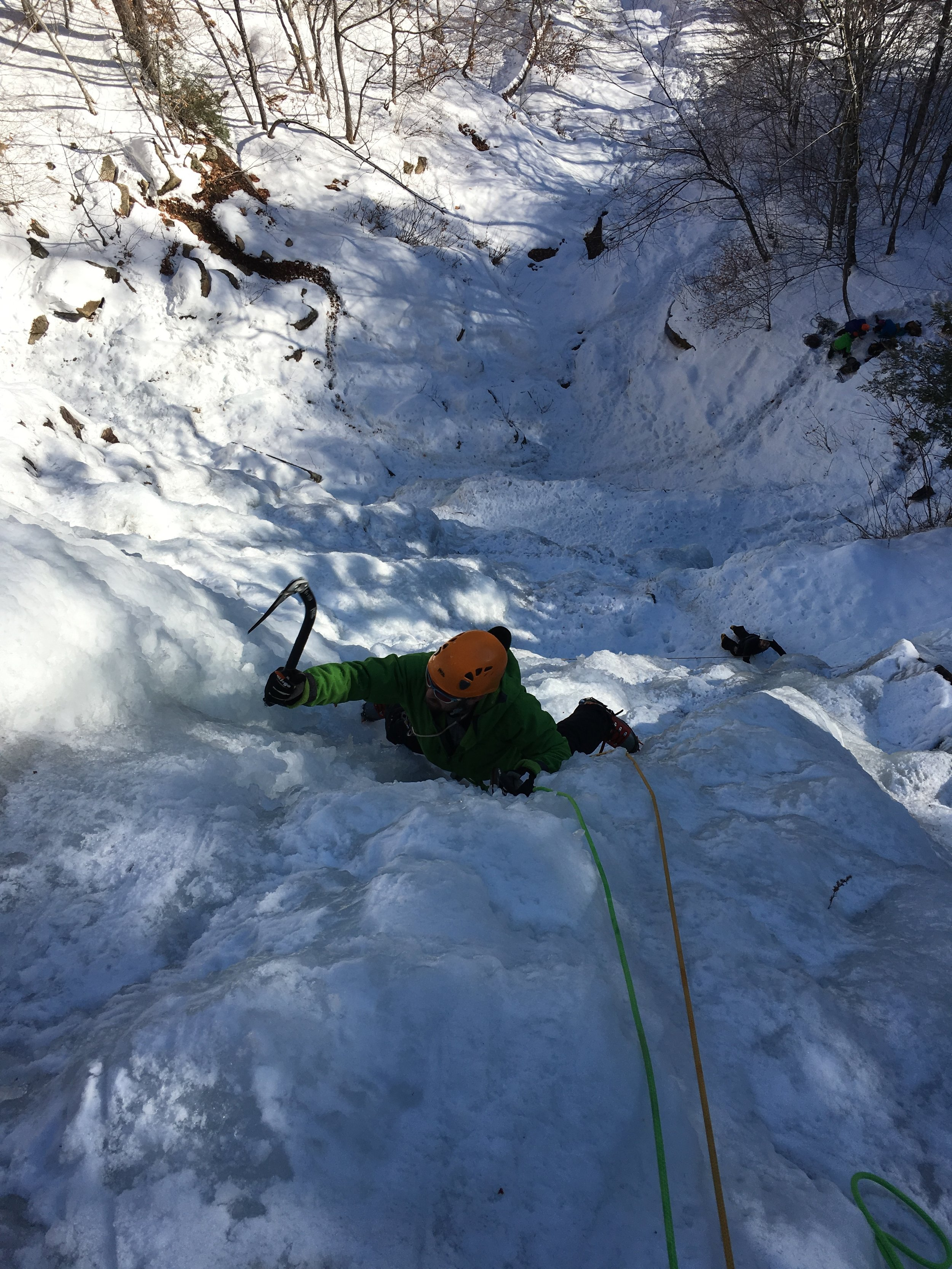Aaron styling the steeper ice of Chia - Left variation.