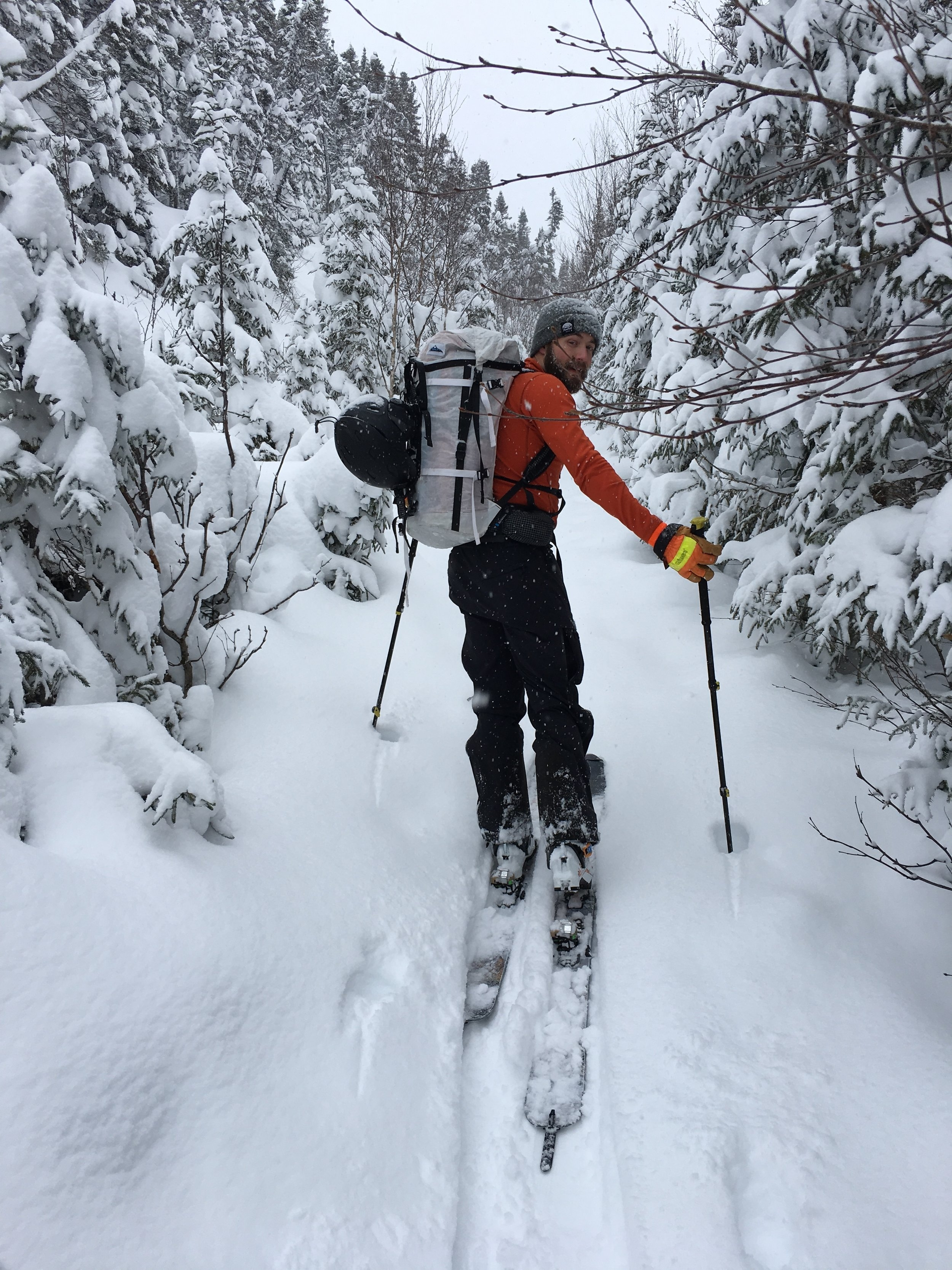 Minutes from the car we are breaking trail in the coldest, lightest POW my skis have been on in a while! Gibbs cannot stop grinning.