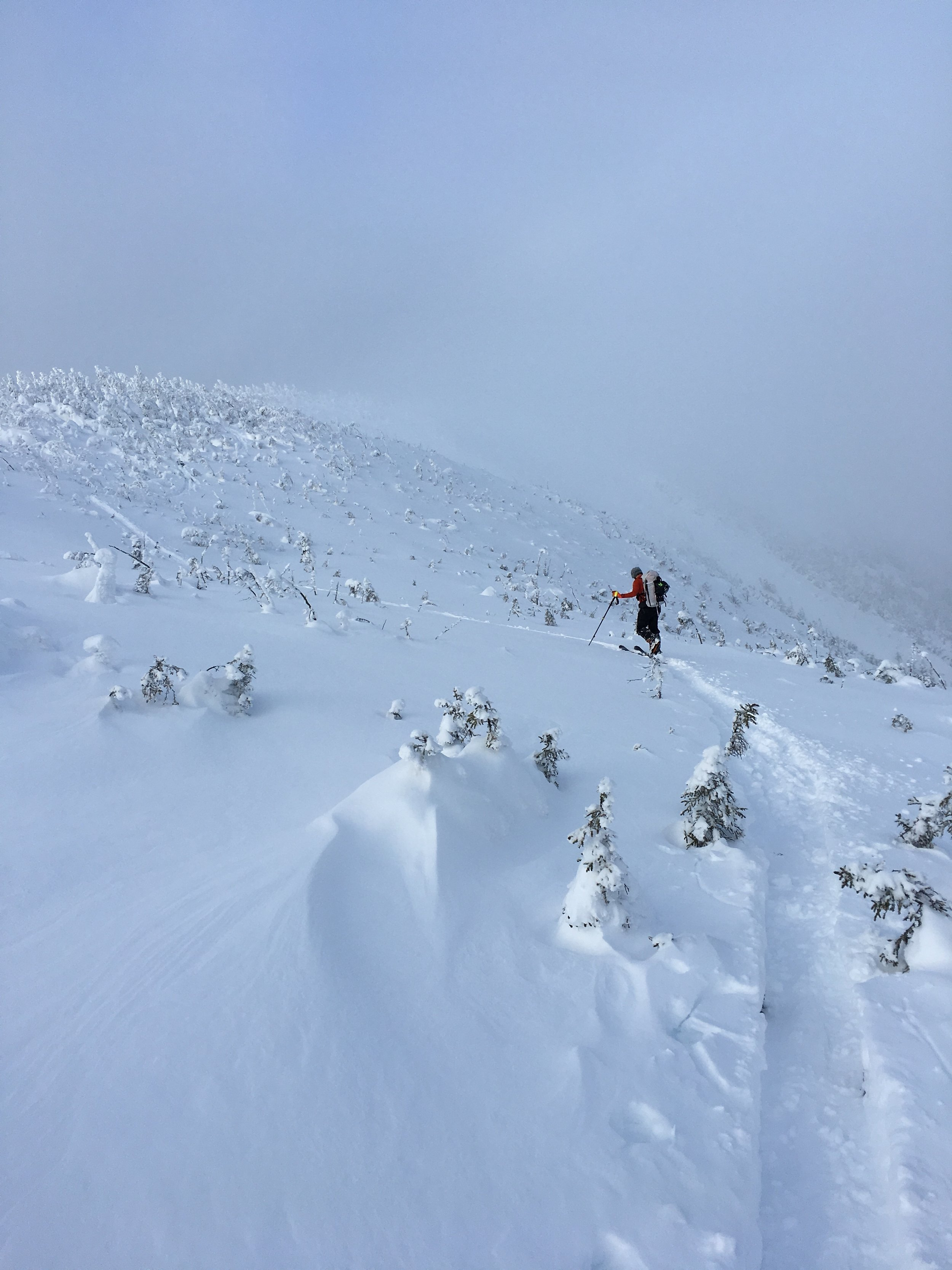Traversing the ridge line and picking our ski line!