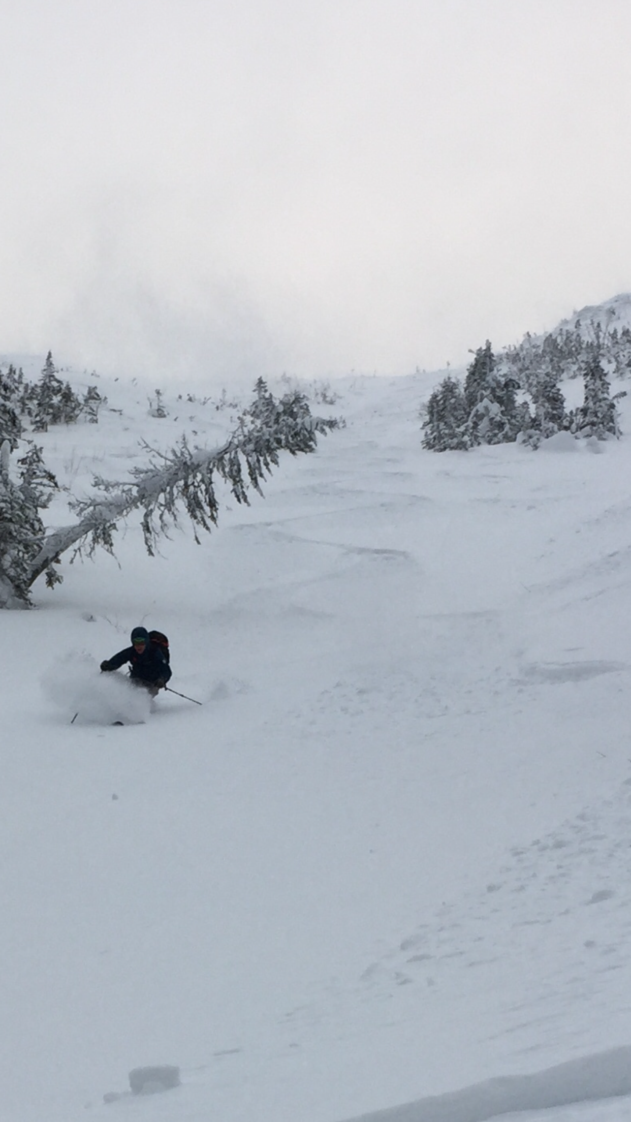 A shot of myself skiing what Gibbs and I both believed to be the best line of Day 1.