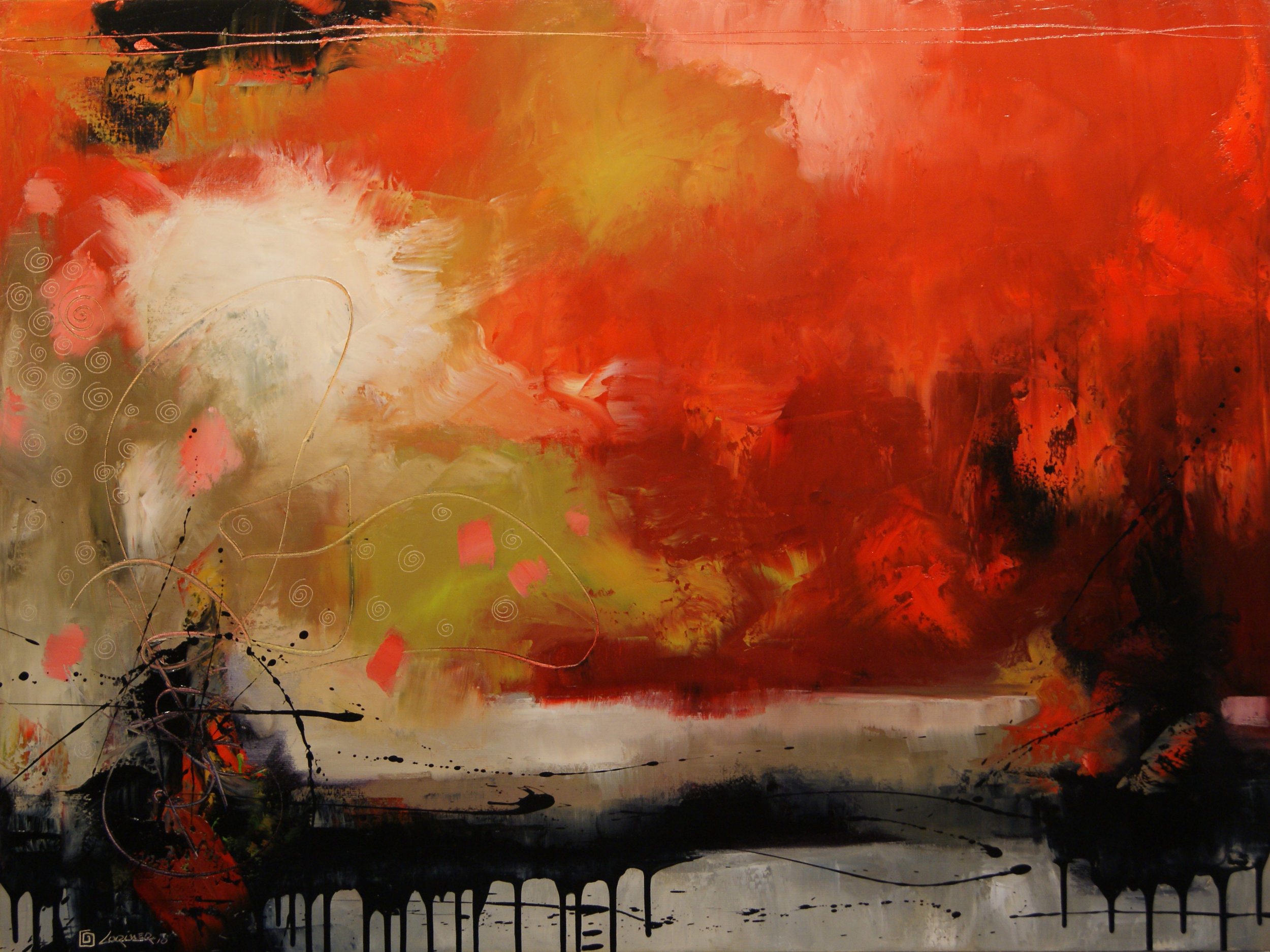 """Landscape in Red (36"""" x 48"""")"""