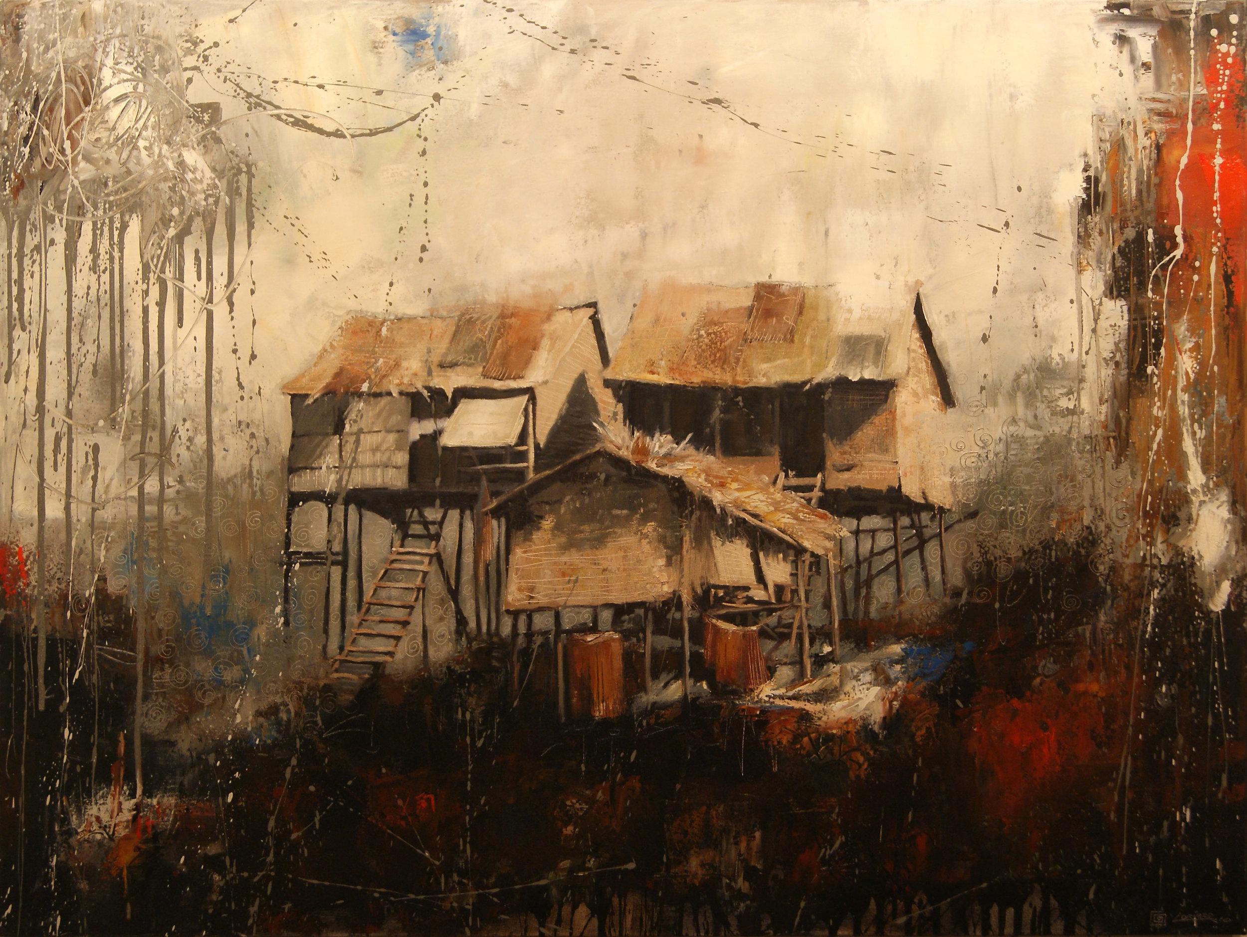 """Living on the Mekong (36"""" x 48"""")"""