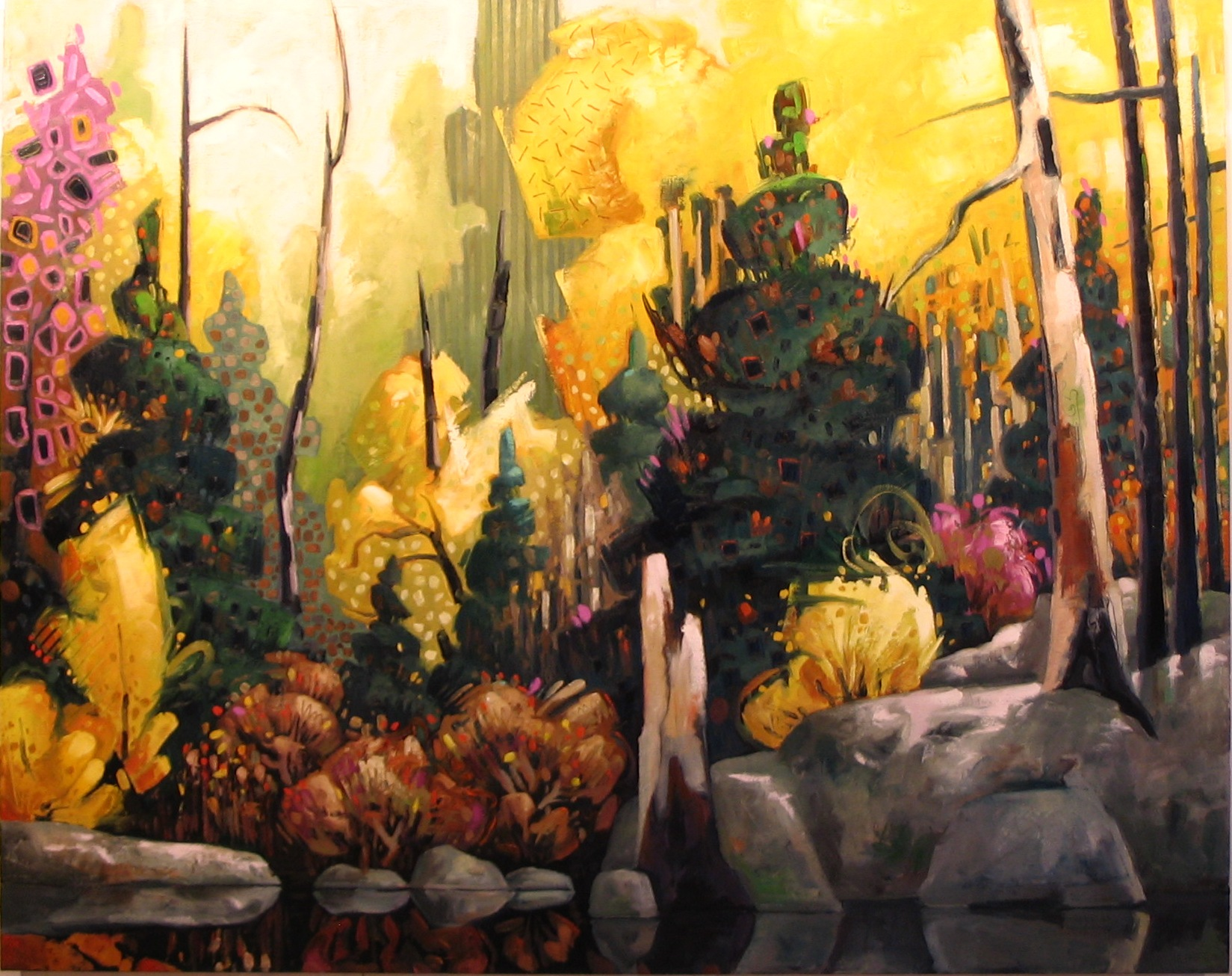"Forest in Yellow (48"" x 60"")"