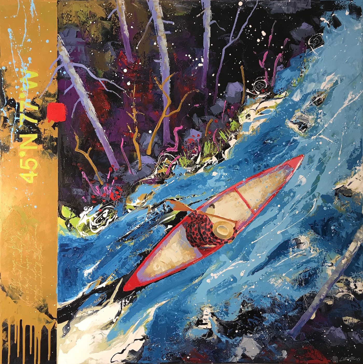 """45º77ºW - Solo Canoe (40"""" x 40"""")"""