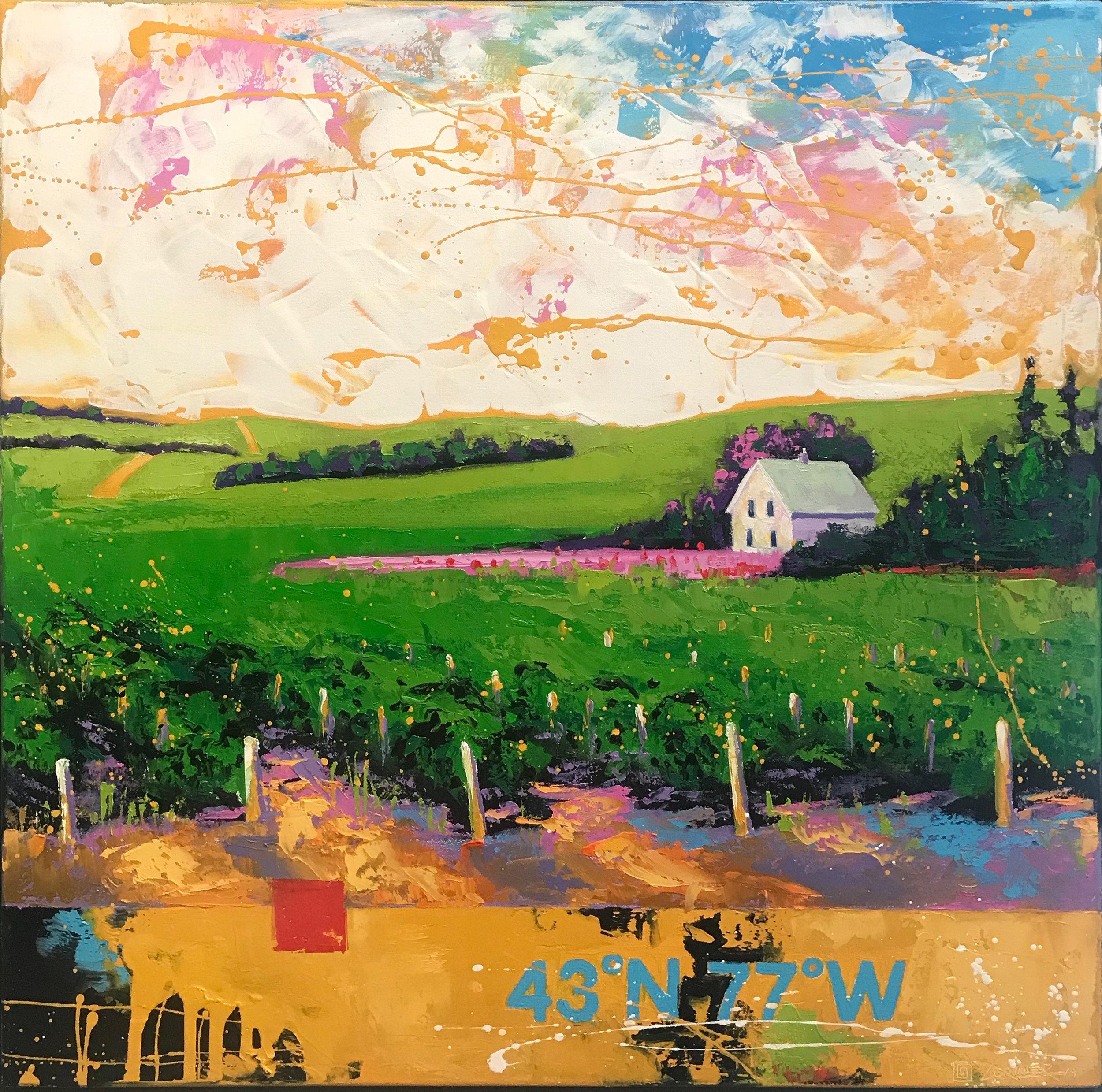 "43º77ºW - PEC WINE COUNTRY (24"" x 24"")"
