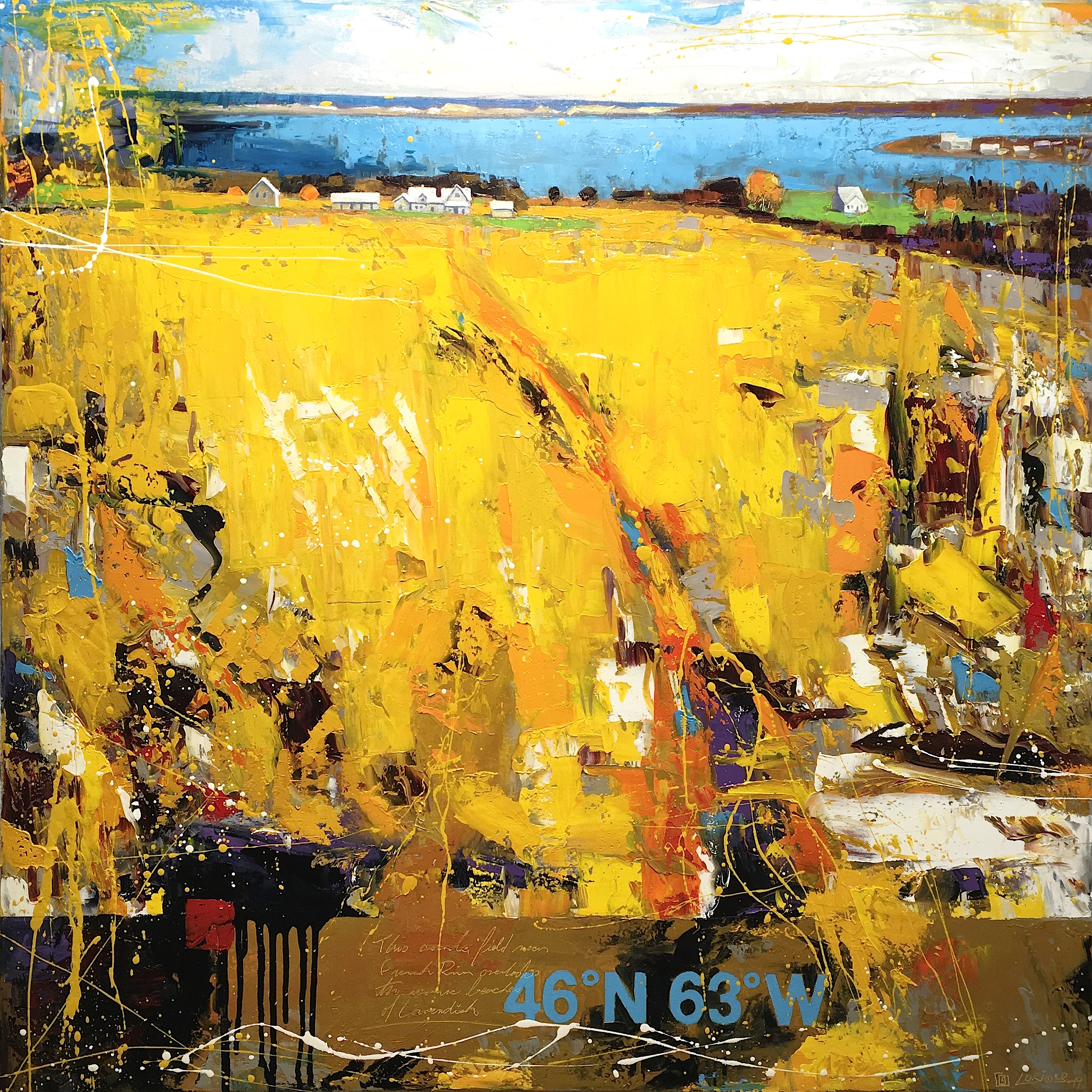 "46ºN 63ºW - Canola Field in French River (40"" x 40"")"