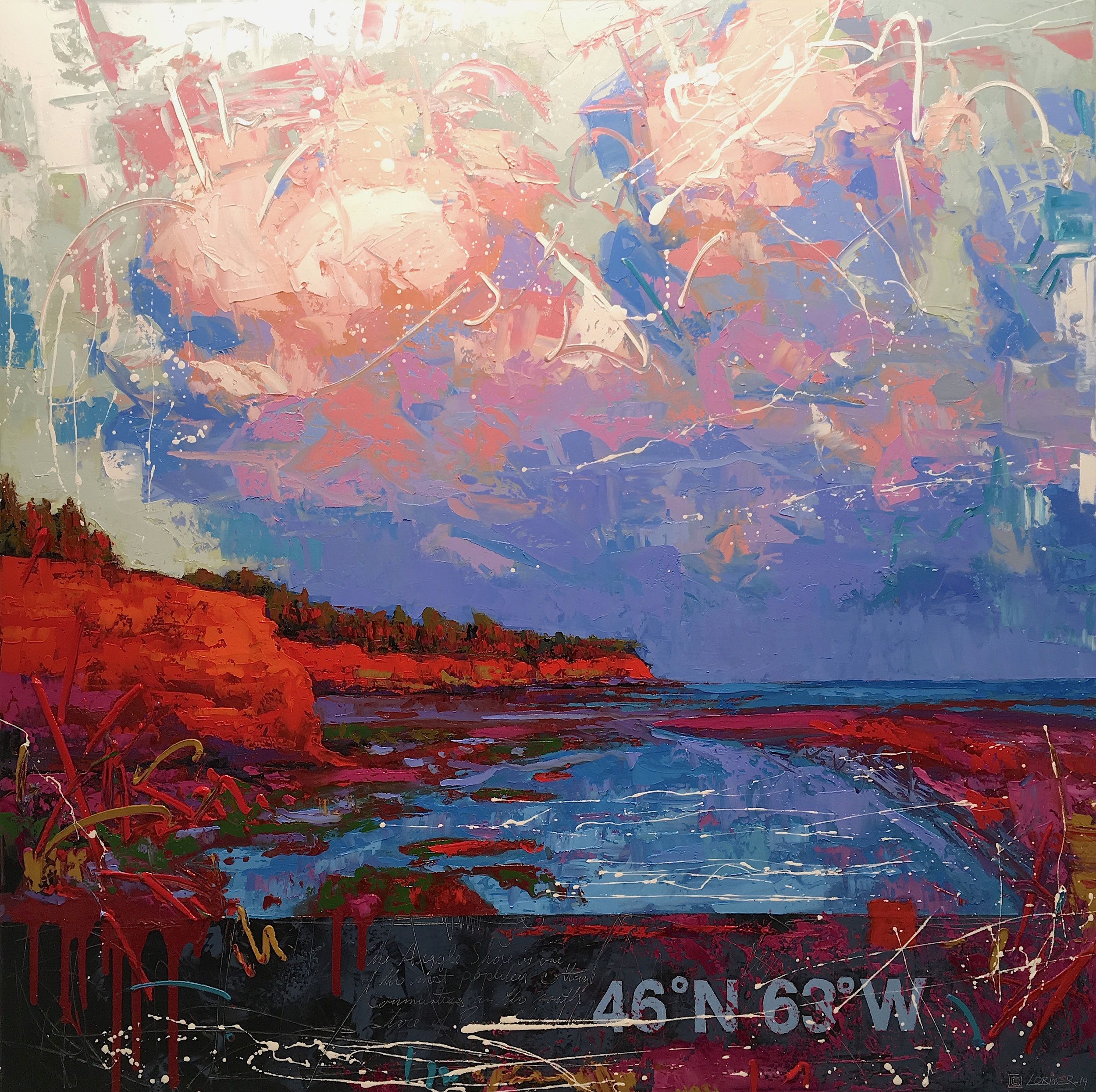 "46ºN 63ºW - Argyle Coast (40"" x 40"")"