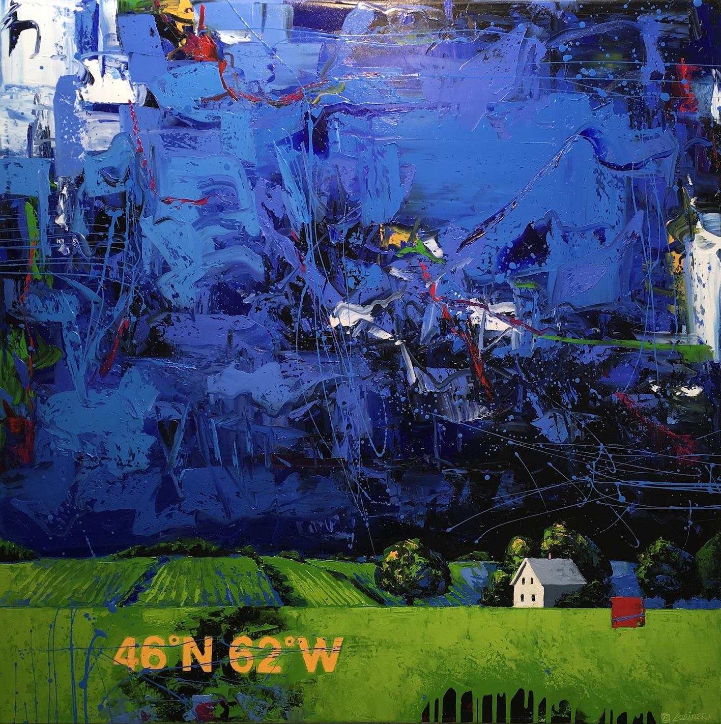 """46ºN 62ºW - Green Fields (40"""" x 40"""")"""