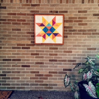 So grateful for this beautiful barn quilt with the Quilted Mitten logo courtesy of Jason James Flannery!