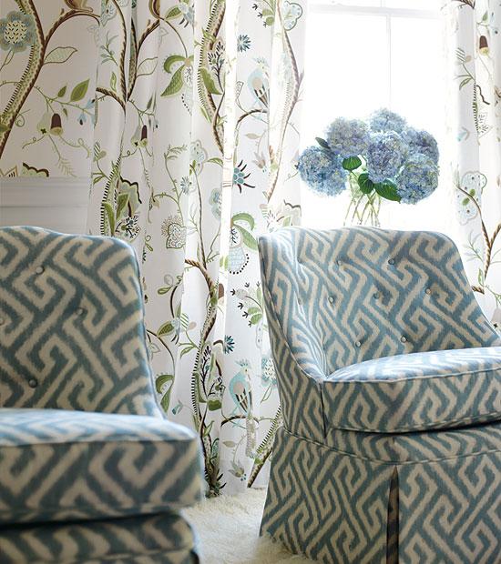 Thibaut fabric curtains.