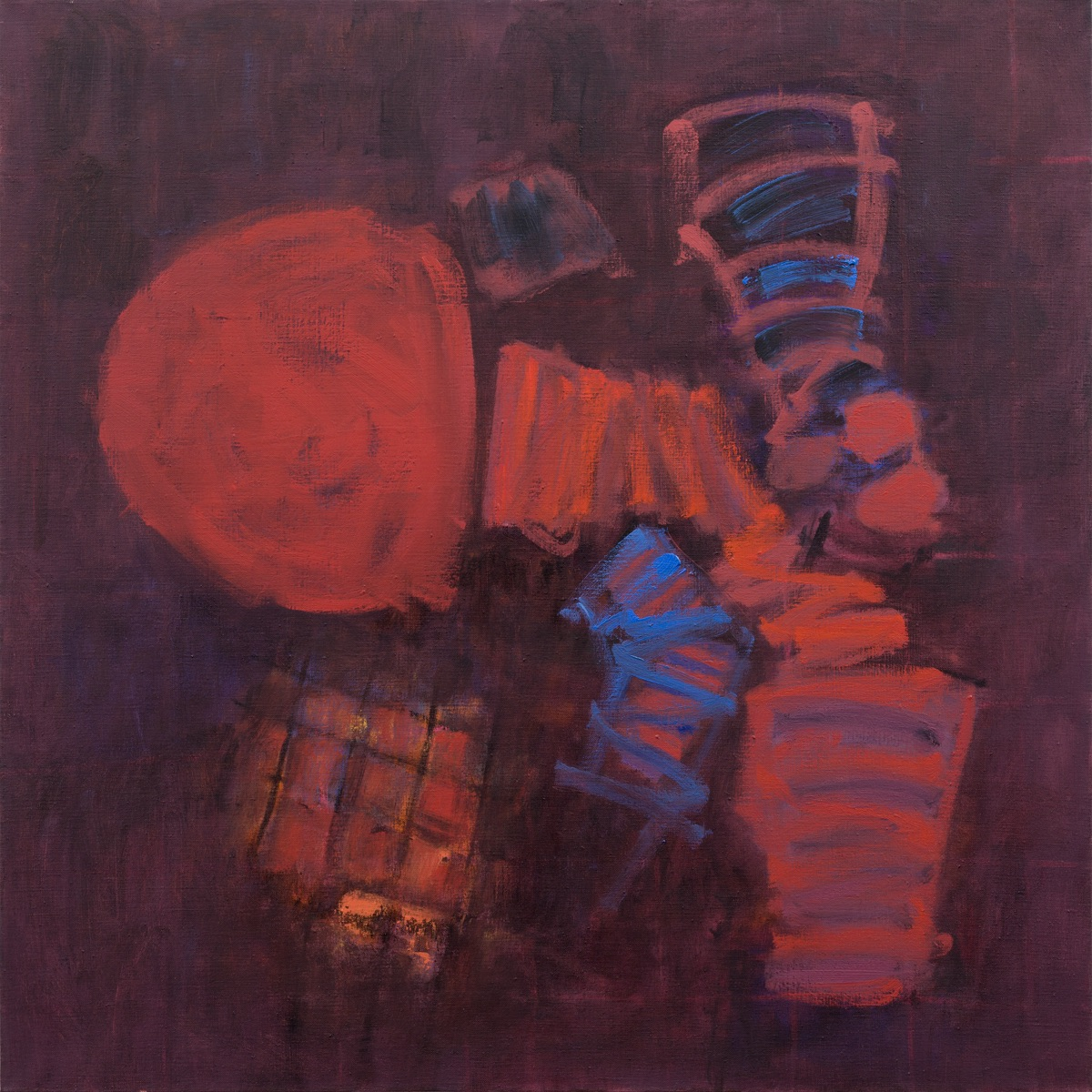 Planes & Grids (Red)   76x76cm (30x30in) Oil on linen