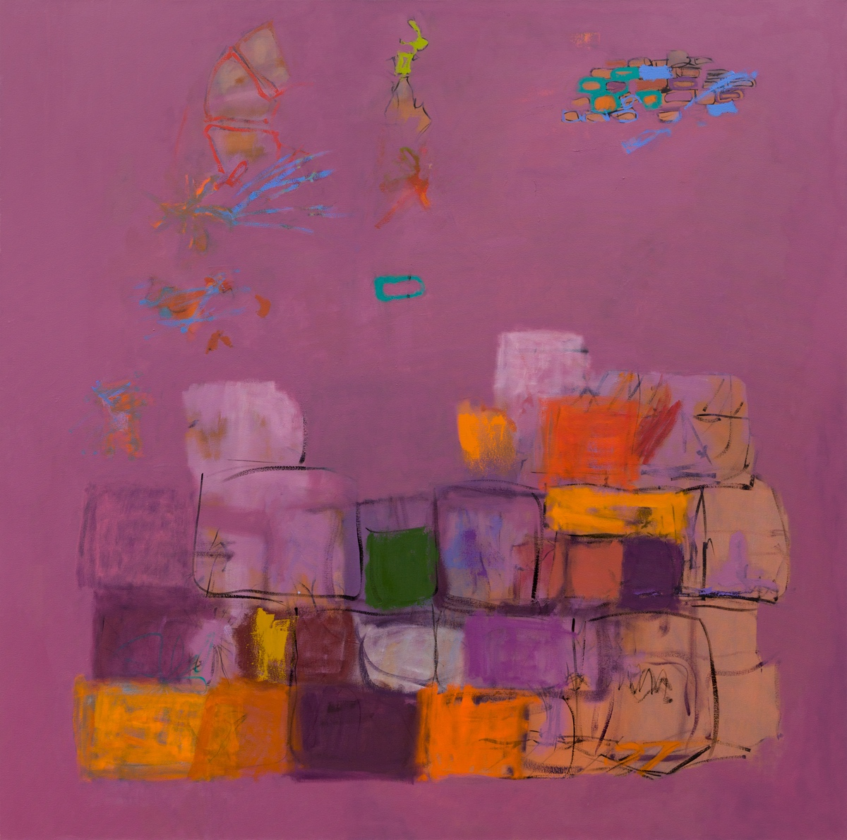Wall (Violet)   152x152cm (60x60in) Oil on canvas