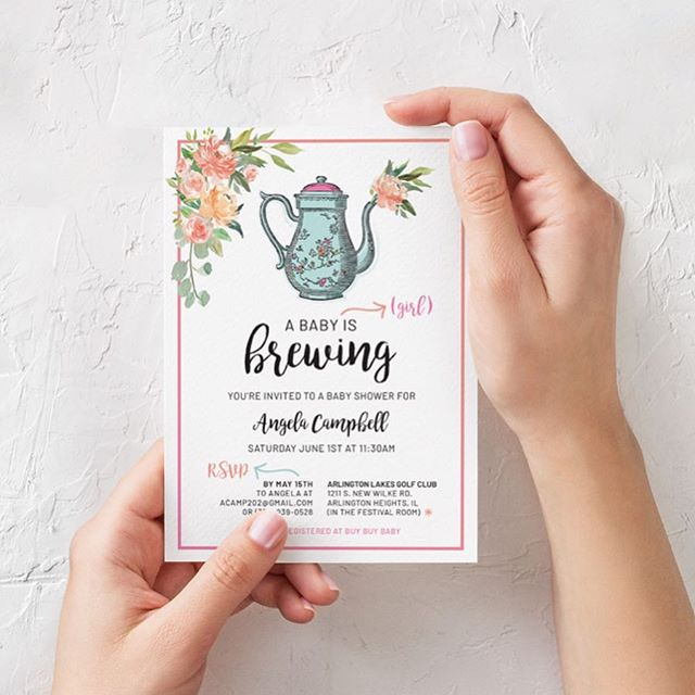 Just sent these beauties off for print production. How cute are these baby shower invitations though?! 💐☕️ Loving the tea theme with soft pastel colors, and watercolor brush strokes.