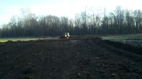 The new track ground breaking. Ray Walker and his dozer begin forming the new track.  November 5, 2012