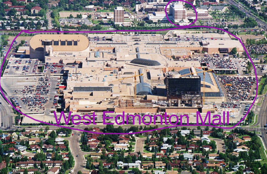 West Edmonton Mall was home to KAOS nightclub as pictured above. I was born across the street from the mall in the building at the top. This hospital existed before the mall was built. Construction of the $1.2 billion mall began very soon after I was born.